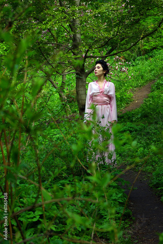 Japanese young woman in spring forest