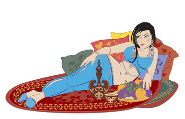 beautiful Eastern woman lying on the carpet