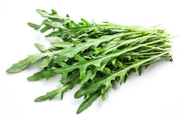 Rucola leaves isolated on white..