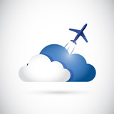 cloud and airplane cloud currency concept