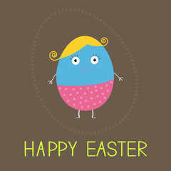 Easter painted egg with cute face. Card.