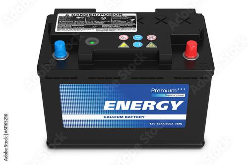 Leinwanddruck Bild Black automobile battery isolated on white background