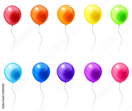 Colorful balloon icons in isolated background