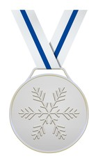 Silver medal with blue white ribbon