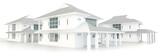Fototapety 3D residential estate architecture exterior design in white back