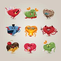 Valentines hearts icons set