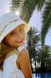 Summer vacation, Portrait of cute girl in beach resort