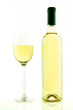 Bottle and glass of white wine isolated
