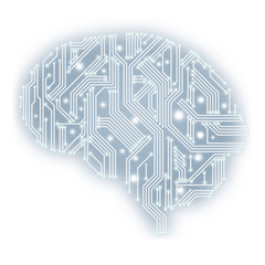 Illustration of circuit board in human brain form