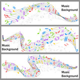 Wavy Music Notes Banner