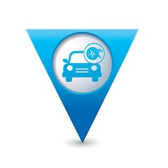 Car service. Car with wheel and tools icon on map pointer