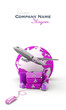 Purple pink golf trip flight booking