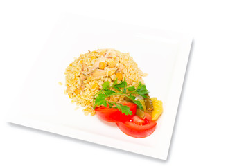 Bulgur Pilaf with chicken and chickpea