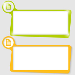 set of two text boxes for text with the notes icon