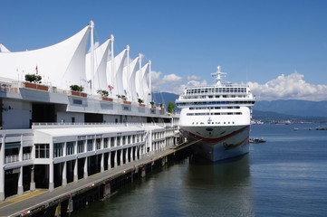 Cruise ship in harbour Vancouver , British Columbia, Canada
