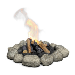 3d illustration of a campfire with fire