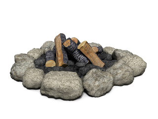3d illustration of a campfire