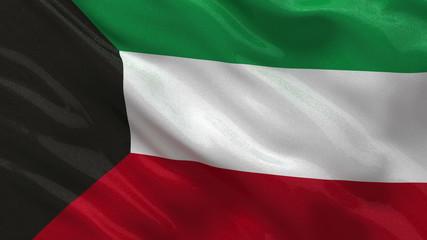 Flag of Kuwait waving in the wind - seamless loop