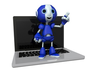 3d illustration of a robot on a computer