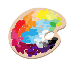 The artist's palette with colorful paints