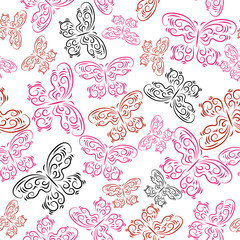 Pattern with colored decorative butterflies