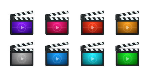 Vector Movie Production Clapboard Icons
