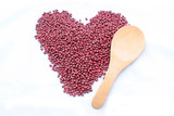 Heart red bean Adzuki with wood spoon