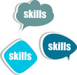 skills word on modern banner design template. set of stickers
