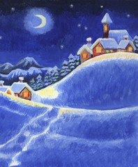 Verschneite nächtliche Schneelandschaft mit illuminiertem Dorf