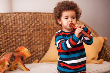 Kid playing flute