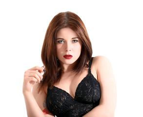 Beautiful young woman posing in lingerie