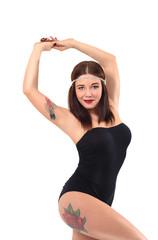Tattooed athletic beautiful girl on fitness training