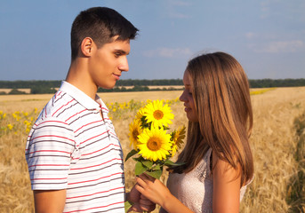 date in a wheat field