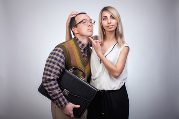 Scared nerd with girl