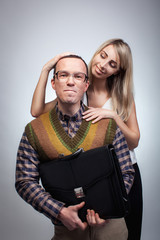 Happy nerd with girl