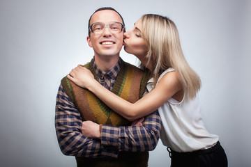 Happy nerd with girl