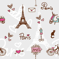paris symbols - doodle seamless pattern for digital paper