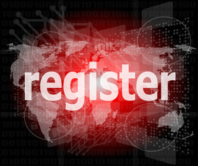 business concept: words register on digital screen