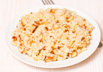 pieces of smoked squid with rice