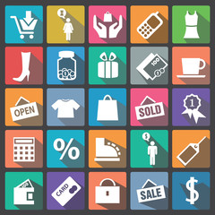 Shopping icon set flat