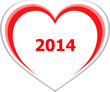 marketing concept, 2014 on love heart on white