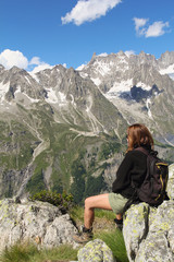Hiker woman and Mont Blanc panorama