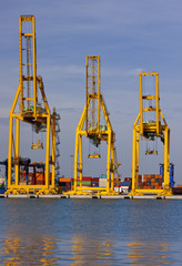 Cranes in the port.Valencia, Spain.