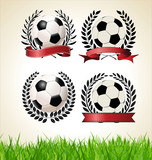 Set of vintage styled soccer championship labels