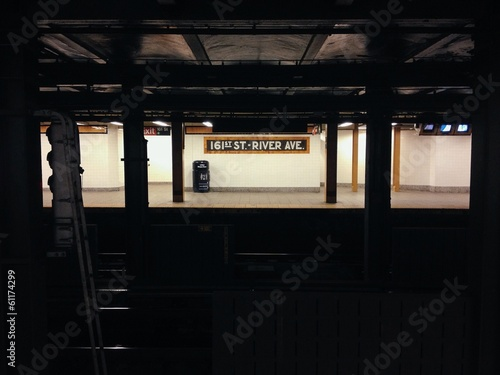 An empty subway station in New York