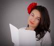 Girl Reading Valentine's Day Card