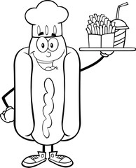 Black And White Hot Dog Chef Holding A Platter