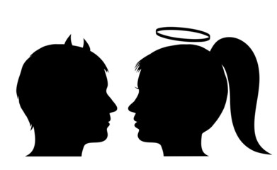 Male devil and female angel