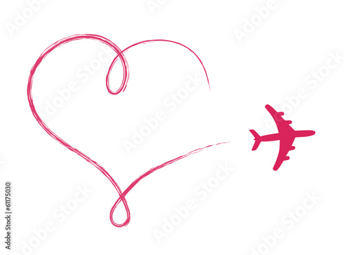 Fototapeta Heart shaped icon in air, made by plane