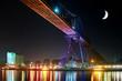 Rendsburger Eisenbahnbrücke bei Nacht